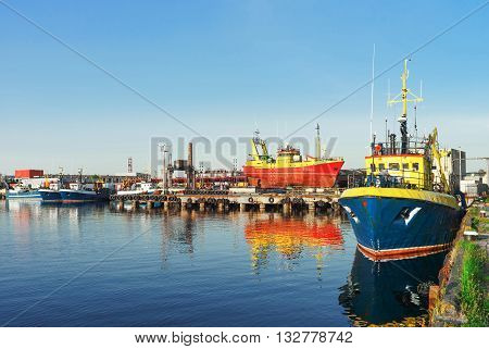 Ships On The Marina In Ventspils In Latvia