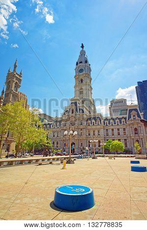 Philadelphia USA - May 4 2015: Square near Philadelphia City Hall. Philadelphia City Hall and Church on the background. Pennsylvania USA.