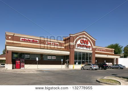 FORT WORTH USA - APR 6: CVS Pharmacy Store in the city of Fort Worth. CVS is the largest pharmacy chain in the United States. April 6 2016 in Fort Worth Texas USA