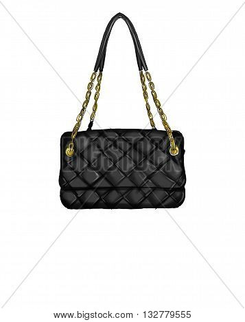 Fashion Illustration with quilt black leather handbag