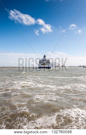 Ferryboat leaves port of Calais company on the Channel