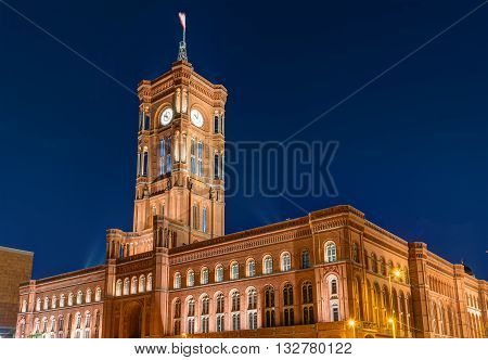 The townhall Rotes Rathaus of Berlin at night