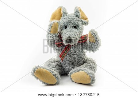 Soft toy grey mouse isolated on white