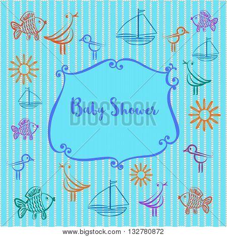 Baby photo album. Baby boyl shower invitation. Cute frame for photo. Doodle bird sun fish ship. Blue color. Decorative background. Template for baby boy photo album. Vector illustration.