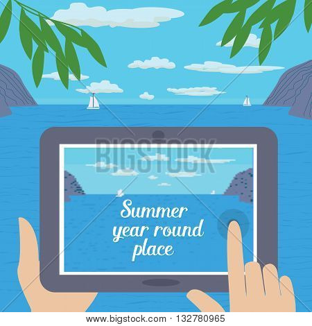 Travel tips. Text summer year round place. Summer travel. Travel advise. Tourist trip advertising banner guide for summer vacation. Vector Illustration.