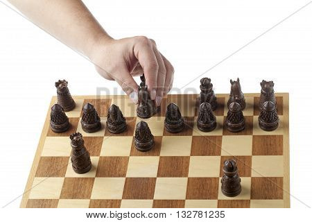 Close Up Image Of A Person Playing Chess