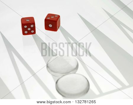 Close Up Image Of Dice And Chess Piece