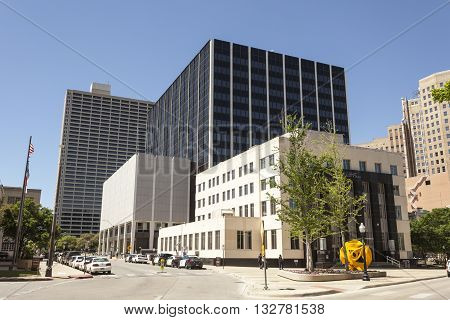 FORT WORTH USA - APR 6: Public Safety and Courts building in the city of Fort Worth. April 6 2016 in Fort Worth Texas USA