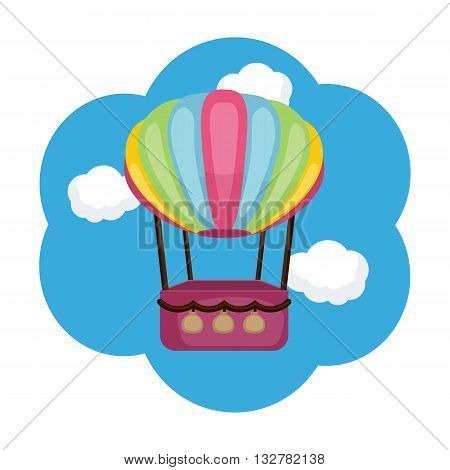 Hot air balloon. Blue background with clouds.
