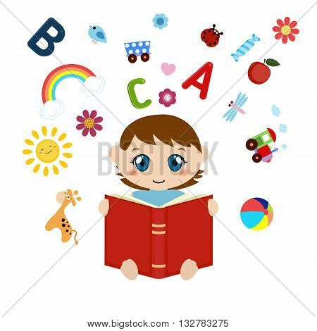 Vector illustration of boy sitting and reading book. Open book with children's icons flying out. White background.