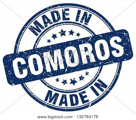 made in Comoros blue round vintage stamp.Comoros stamp.Comoros seal.Comoros tag.Comoros.Comoros sign.Comoros.Comoros label.stamp.made.in.made in.
