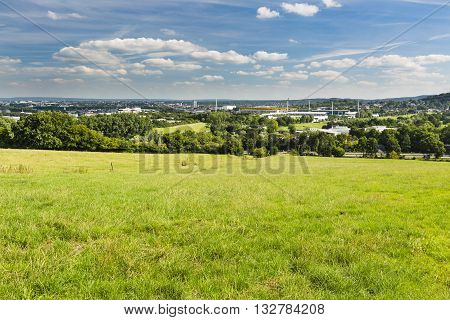 Aachen Meadows And Stadium With Deep Blue Sky