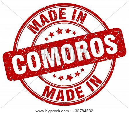 made in Comoros red round vintage stamp.Comoros stamp.Comoros seal.Comoros tag.Comoros.Comoros sign.Comoros.Comoros label.stamp.made.in.made in.