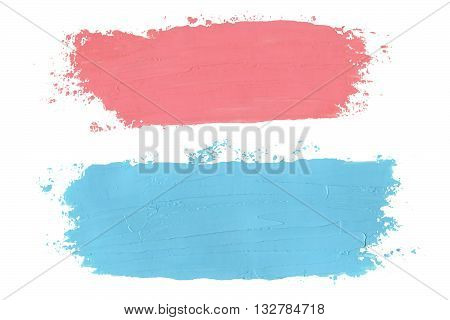 Pink And Blue Oil Grungy Brush Strokes Painted On White Background.