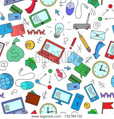 Seamless background on a theme business on the Internet and information technology the colored icons on white background