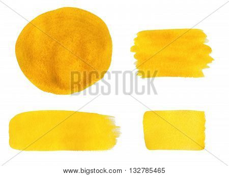 Collection Of Yellow Watercolor Design Elements Isolated On White Background