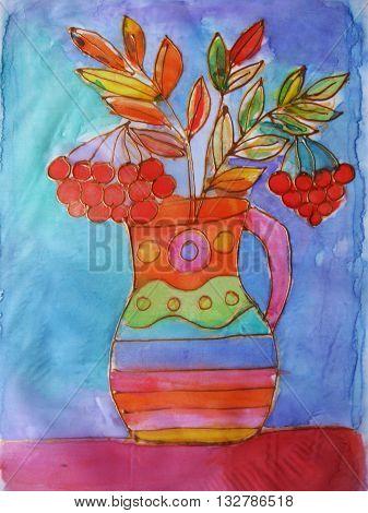Watercolor drawing Batik. Vase with of a bouquet rowan