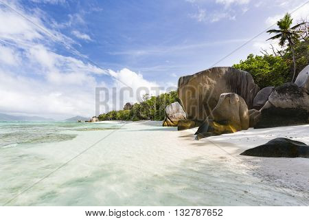 Empty Beach In The Morning, La Digue, Seychelles