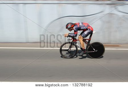 APELDOORN, NETHERLANDS-MAY 6 2016: Daniel Ossi of pro cycling team BMC Racing during the Giro d'Italia prologue time trial.