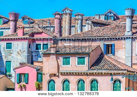 Traditional mediterranean architecture in Venice, Italy. Close up view on architecture details.