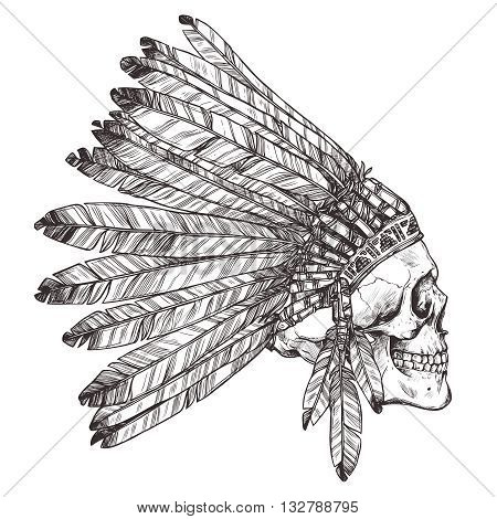 Hand Drawn Native American Indian Headdress With Human Skull In Profile. Vector Monochrome Illustration Of Indian Tribal Chief Feather Hat And Skull Side View
