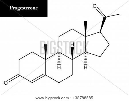 Molecular structure of Progesterone. Progesterone is endogenous steroid and progestogen sex hormone involved in the menstrual cycle pregnancy etc.