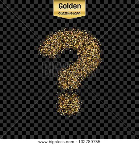 Gold glitter vector icon of question mark isolated on background. Art creative concept illustration for web, glow light confetti, bright sequins, sparkle tinsel, abstract bling, shimmer dust, foil.