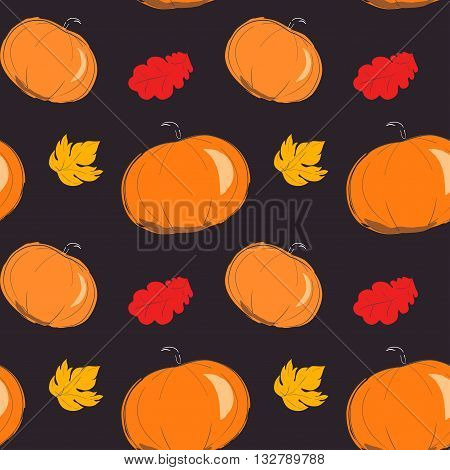 Autumn pattern with orange pumpkin. Season of rains. Seamless pattern of yellow autumn leaves on background