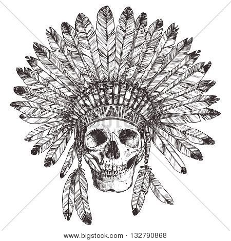 Hand Drawn Native American Indian Headdress With Human Skull. Vector Monochrome Illustration Of Indian Tribal Chief Feather Hat And Skull