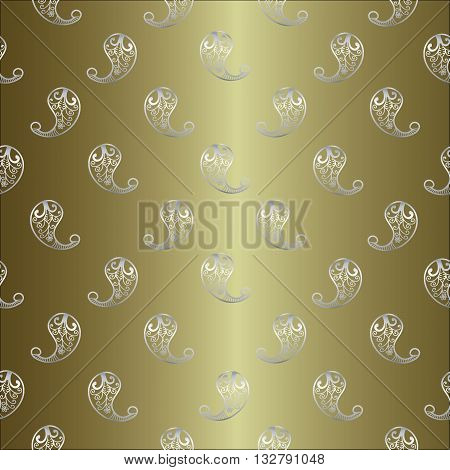 Seamless vintage pattern from Persian ornament Buta. Silver Persian ornament is on the gold with gradient background.Can be scaled to any size.