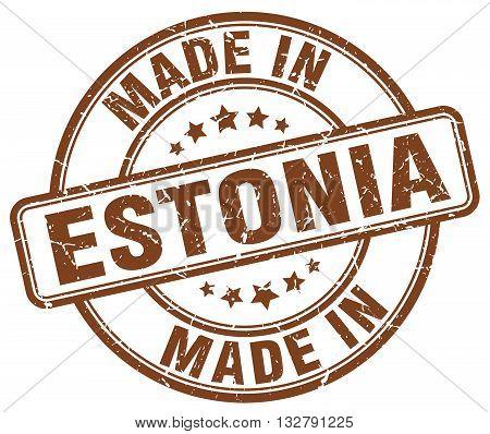 made in Estonia brown round vintage stamp.Estonia stamp.Estonia seal.Estonia tag.Estonia.Estonia sign.Estonia.Estonia label.stamp.made.in.made in.