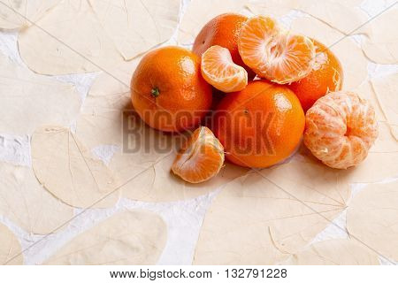 a close up of organic rive  tangerines.