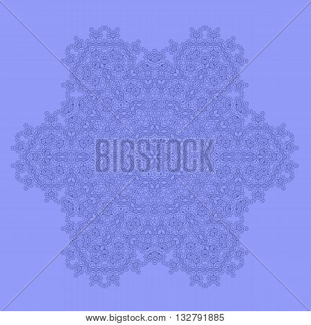 Mandala Isolated on Blue Background. Round Ornament