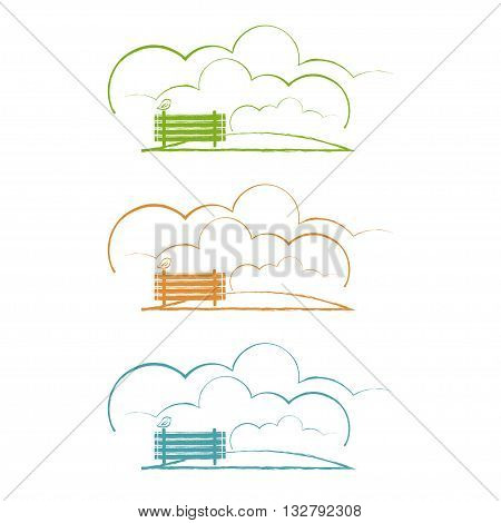 Illustration Of Park With Bench And Bird. Vector