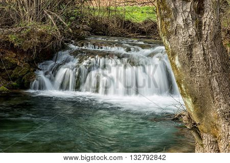 Waterfall on river  Lisine in Serbia in spring