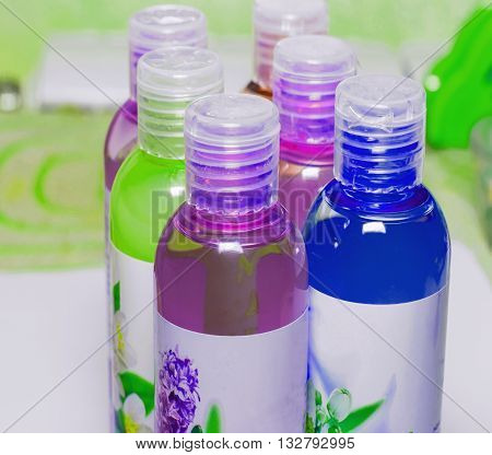 Group cosmetic bottles cosmetic liquid shower gels shampoos cosmetics and bottles for liquid soap