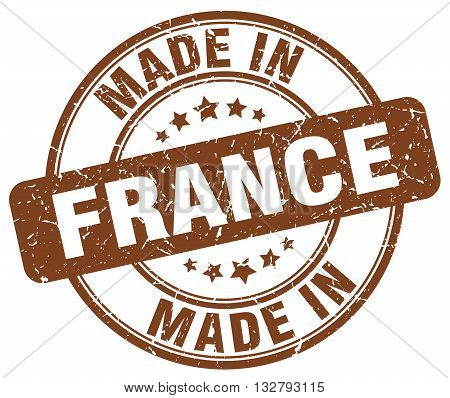 made in France brown round vintage stamp.France stamp.France seal.France tag.France.France sign.France.France label.stamp.made.in.made in.