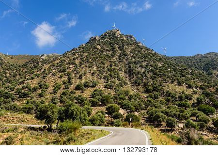 Road in the picturesque mountains, Kos island, Dodecanese, Greece.