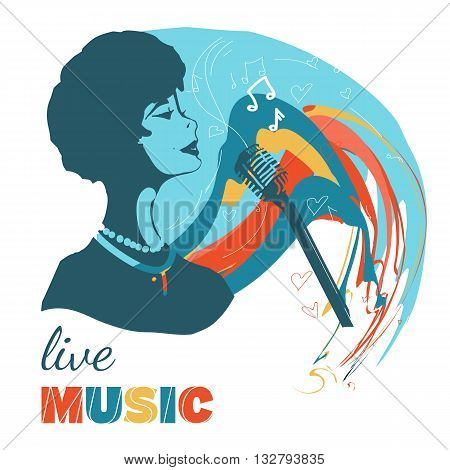 Music woman sings hand drawn vector illustration