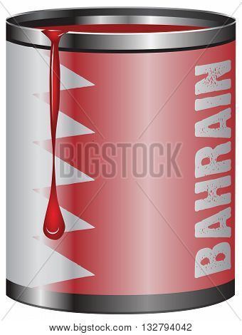 Tin with paint the symbolic color of the flag State of Bahrain.