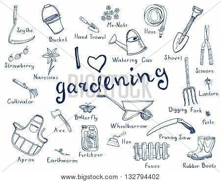 Hand drawn doodles of gardening tools plants pests in blue color and with names of tools.