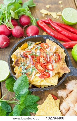 Gratinated tortilla chips with cheese and red chili peppers