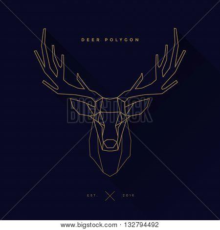 logo of deer frame head polygon invert illustration, geometric logo