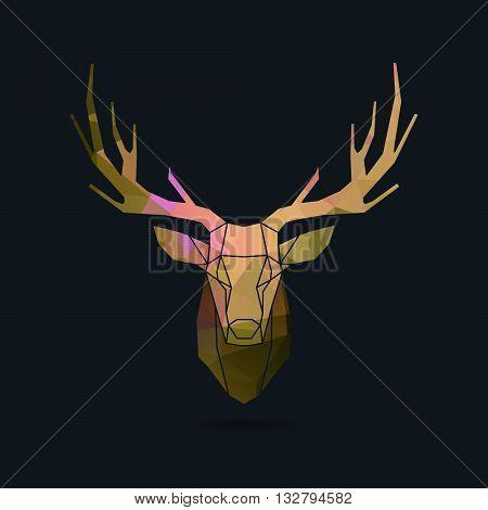 deer frame head polygon invert portrait illustration