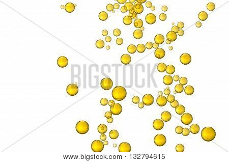 Many small yellow oil bubbles soars over a white background