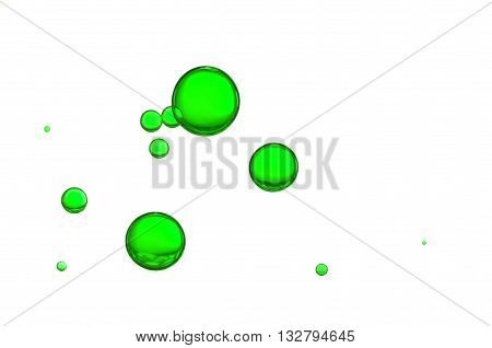 Green air bubbles isolated over a white background