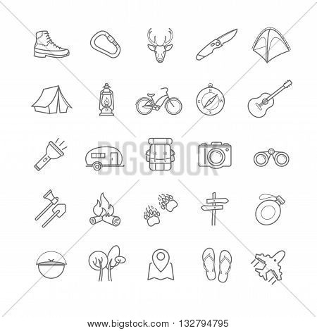 vector summer camping icons set for your design
