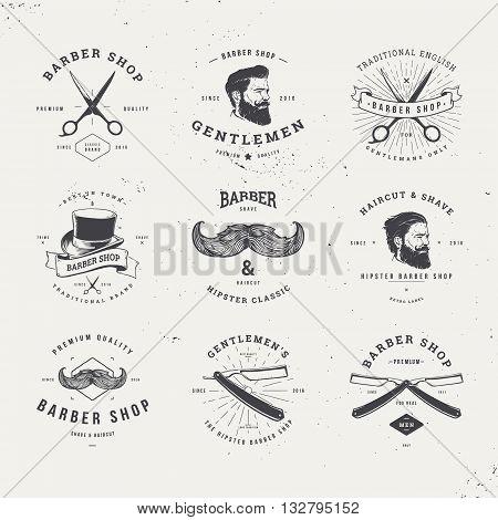 barber shop old fashioned logo set, vintage illustration