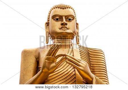Isolated Buddha statue in Colombo Sri Lanka. Frontal view