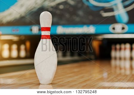 One bowling pin background bowling lane at alley